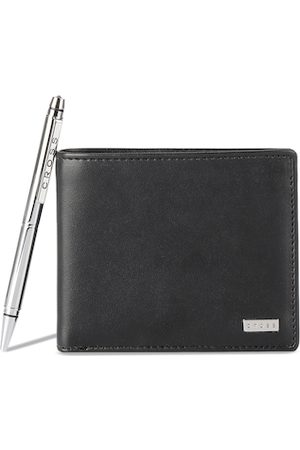 Cross Men Black Solid Genuine Leather Two Fold Wallet With Pen