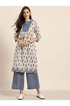 Sangria Women Off-White & Navy Blue Pure Cotton Printed Kurta with Palazzos