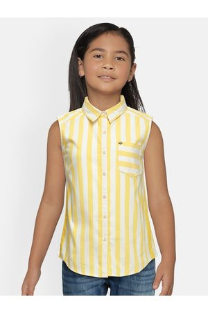 Lee Cooper Women Yellow & White Striped Shirt Style Top