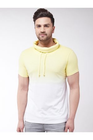 GRITSTONES Men Yellow Dyed High Neck T-shirt