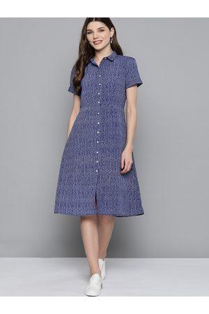 Mast & Harbour Women Navy Blue Striped Shirt Dress