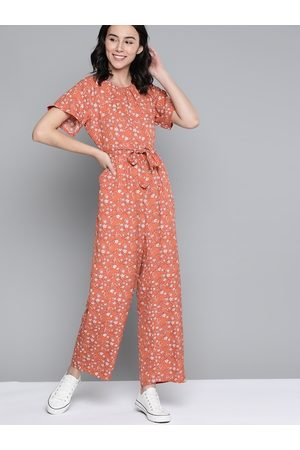Mast & Harbour Women Rust Orange & White Floral Print Basic Jumpsuit & Belt