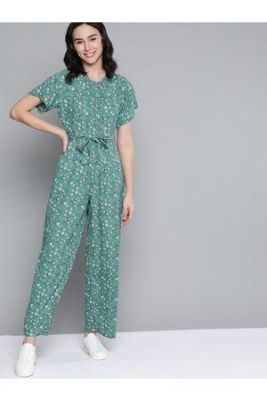 Mast & Harbour Women Green & White Floral Print Basic Jumpsuit & Belt