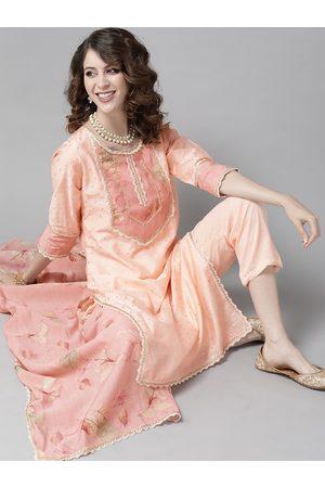 Ishin Women Peach-Coloured & Golden Woven Design Kurta with Trousers & Dupatta