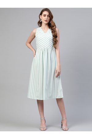 Pluss Women White & Sea Green Striped A-Line Dress