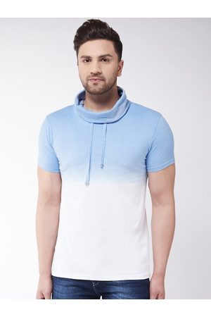 GRITSTONES Men Blue Dyed High Neck T-shirt