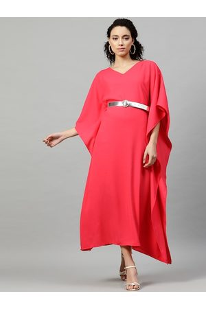 STREET 9 Women Coral Solid Kaftan Dress