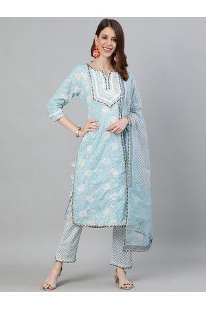 Ishin Women Blue & White Printed Kurta with Trousers & Dupatta