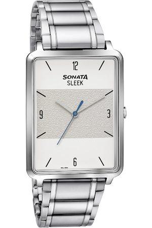 Sonata Men Silver-Toned & White Analogue Watch 7144SM01