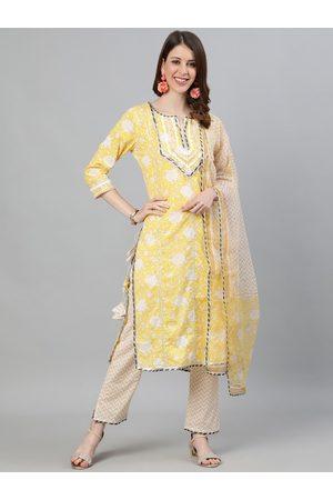 Ishin Women Yellow & Off-White Printed Kurta with Trousers & Dupatta