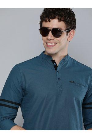 The Indian Garage Co Men Navy Blue Solid Pure Cotton Kurta