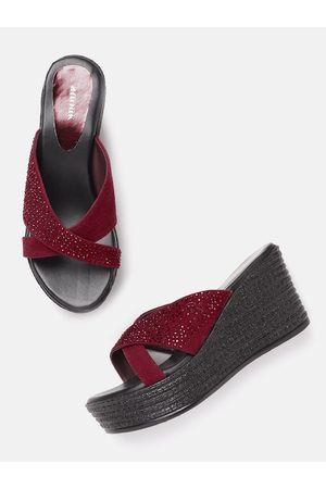 Anouk Women Maroon Embellished Criss-Cross Handcrafted Wedges