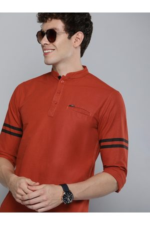 The Indian Garage Co Men Coral Red Solid Pure Cotton Kurta
