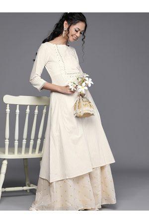 Inddus Women Off-White & Golden Pure Cotton Striped A-Line Kurta