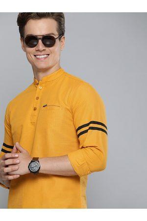 The Indian Garage Co Men Mustard Yellow Solid Pure Cotton Kurta