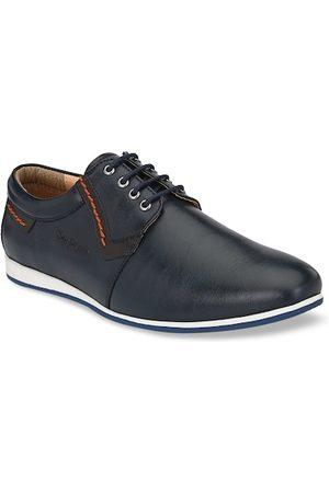 San Frissco Men Blue Solid PU Flat Boots Casual Shoes