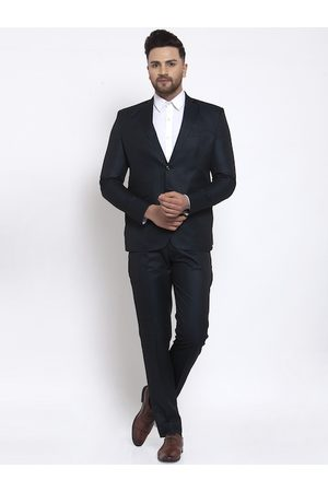 Wintage Men Navy Blue Solid Single-Breasted Suit
