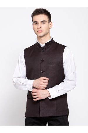 Wintage Men Coffee Brown Solid Woven Nehru Jacket