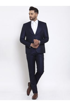Wintage Men Navy Blue Solid Single-Breasted Formal Suit