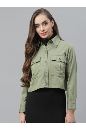 Pluss Women Olive Green Pure Cotton Solid Tailored Jacket