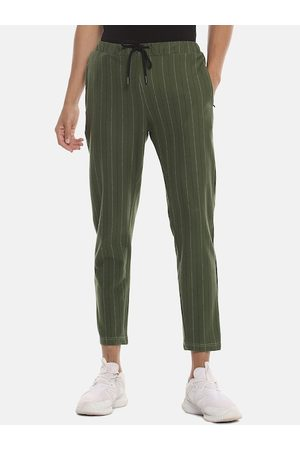 Campus Men Olive Green & White Striped Straight-Fit Track Pants