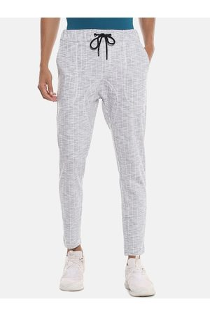 Campus Men Grey & White Striped Straight-Fit Track Pants