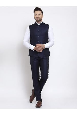 Wintage Men Navy Blue Solid Bandhgala Suit