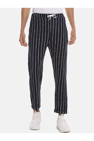 Campus Men Navy Blue & White Striped Straight-Fit Track Pants