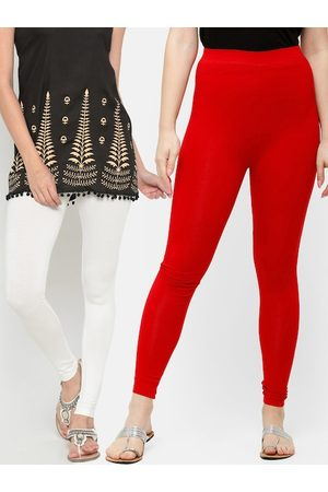 De Moza Women Pack Of 2 White & Red Solid Ankle-Length Leggings