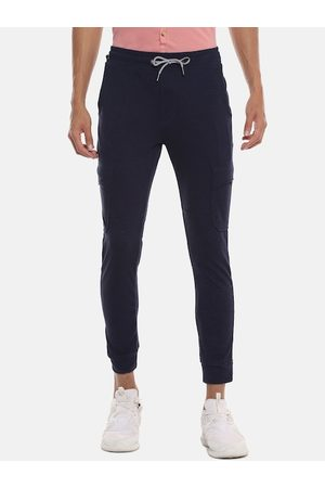 Campus Men Navy Blue Solid Straight-Fit Joggers