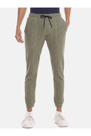 Campus Men Olive Green Solid Straight-Fit Joggers
