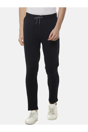 Campus Men Black Solid Straight-Fit Track Pants