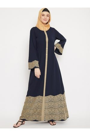 MOMIN LIBAS Women Navy Blue & Beige Front Open Abaya Burqa With Lace work