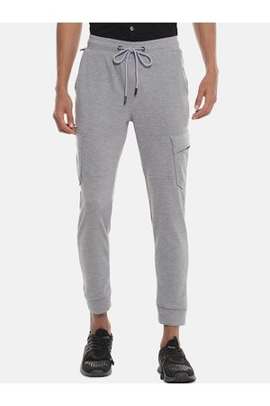 Campus Men Grey & Black Striped Joggers