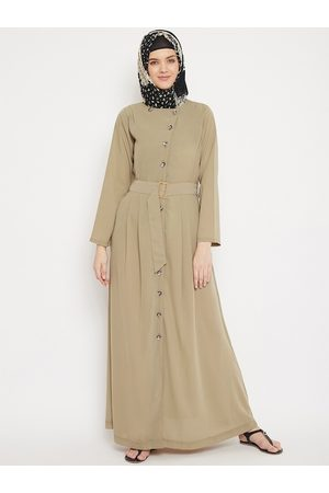MOMIN LIBAS Women Beige Solid Front Open Abaya Burqa with Belt