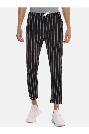 Campus Men Black & White Striped Straight-Fit Track Pants