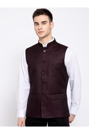 Wintage Men Burgundy-Coloured Solid Formal Woven Nehru Jacket