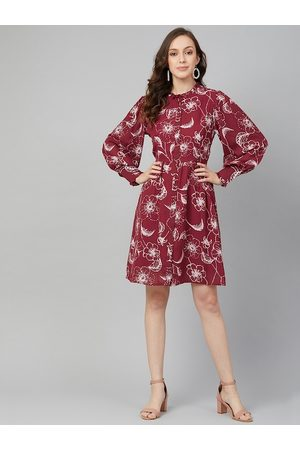 Rare Fashion Women Maroon Printed Fit and Flare Dress