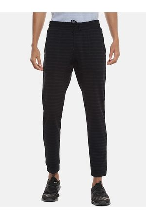 Campus Men Black & Grey Striped Straight-Fit Joggers