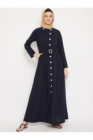 MOMIN LIBAS Women Navy Blue Solid Abaya Burqa With Belt