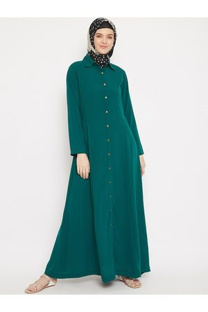 MOMIN LIBAS Women Green Solid Abaya Burqa