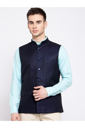 Wintage Men Navy Blue Solid Woven Nehru Jacket