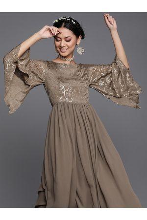 Inddus Women Olive Brown Embellished Yoke Maxi Dress