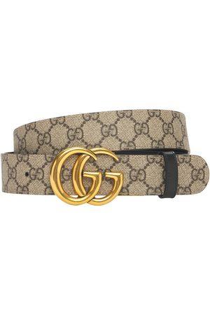 Gucci Women Belts - 3.7cm Gg Marmont Reversible Canvas Belt