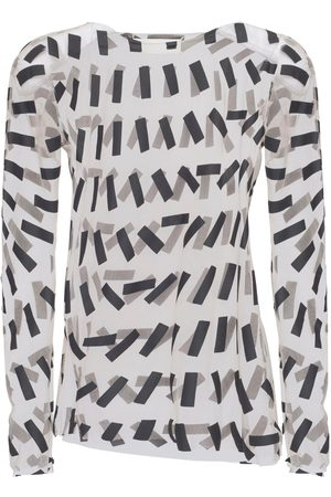 Maison Margiela Women Tops - Printed Sheer Stretch Tulle Top