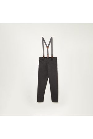 Fame Forever Kids Boys Textured Slim Fit Trousers with Suspenders