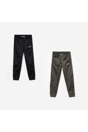 Fame Active Boys Solid Slim Fit Joggers - Set of 2