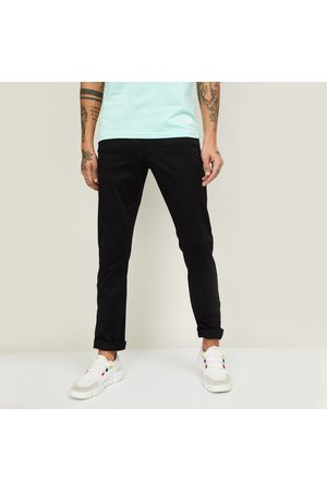V Dot Men Solid Slim Straight Fit Casual Trousers