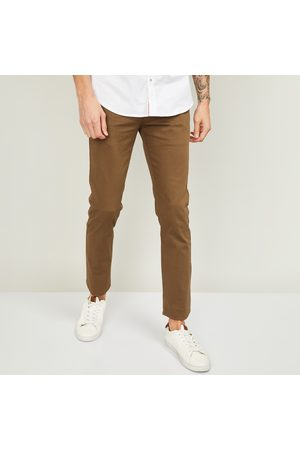 V Dot Men Solid Slim Straight Casual Trousers