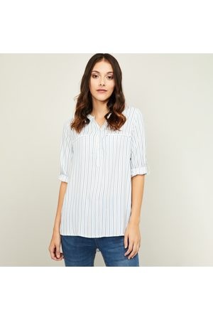 Fame Forever Women Striped Three-Quarter Sleeves Top